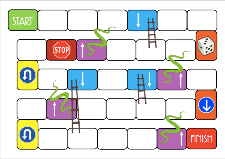 make your own snakes and ladders template - stay away from the snakes