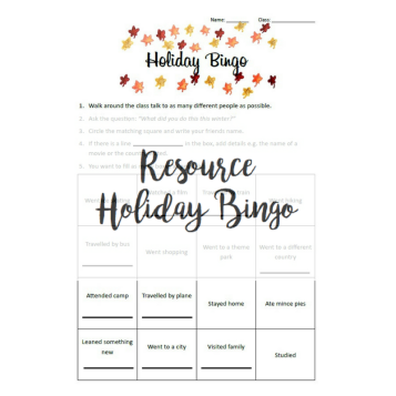 Resource - Holiday Bingo